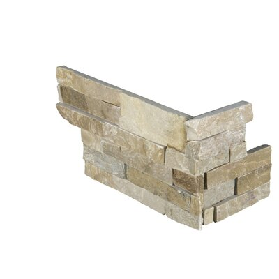 6 x 18 Quartzite Splitface Tile in Beige/Gold (Set of 6)