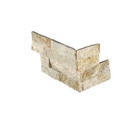 6 x 18 Quartzite Splitface Tile in Gold/Cream (Set of 6)