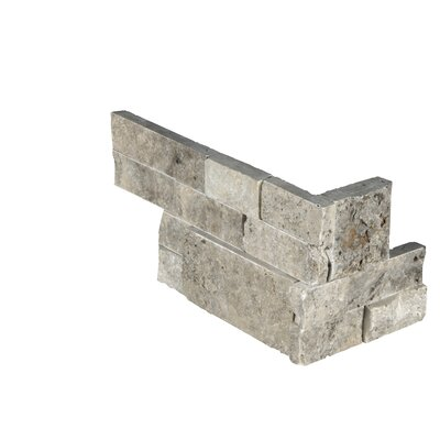 6 x 18 Travertine Splitface Tile in Gray/Beige (Set of 6)