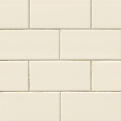 Almond Glossy 3 x 6 Ceramic Subway Tile in Beige