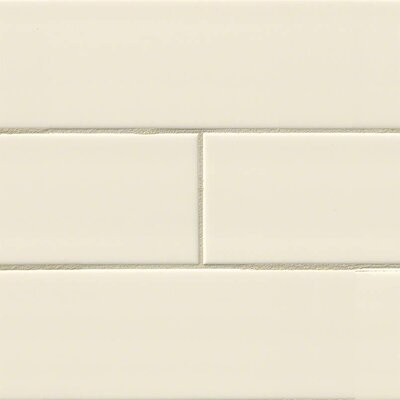 Almond Glossy 4 x 16 Ceramic Subway Tile in Beige