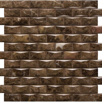 3D Pol 1 x 2 Marble Mosaic Tile in Brown
