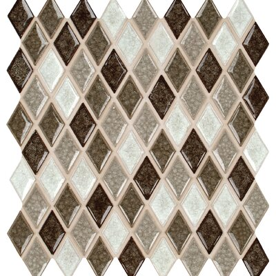 Saddle Canyon 1 x 1 Rhomboids Glass Mosaic Tile in Brown