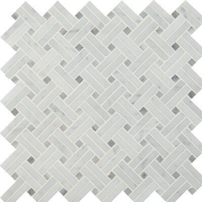 Basketweave Polished Marble Mosaic Tile in White