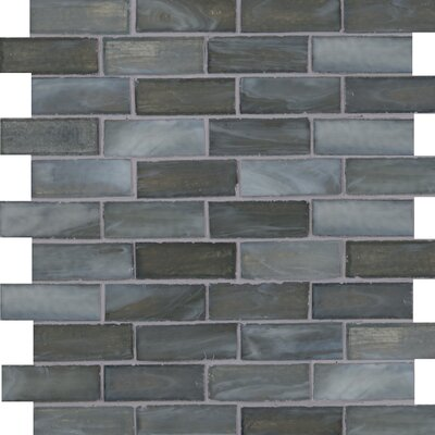 Oceano Brick Glass Mosaic Tile in Taupe in Blue