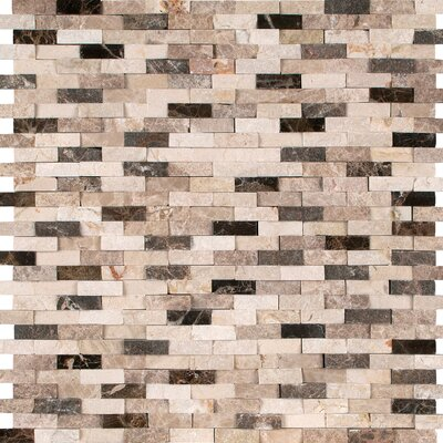 Emperador Blend Splitface Marble Mosaic Tile in Brown