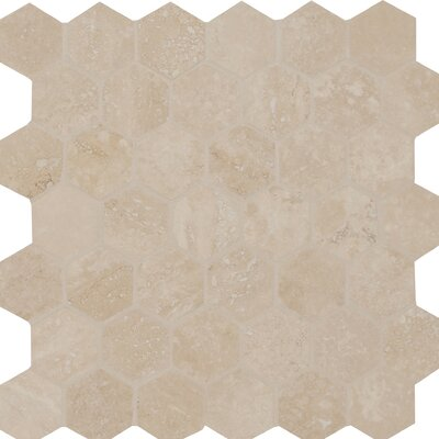 Hexagon Honed and Filled 2 x 2 Travertine Mosaic Tile in Cream