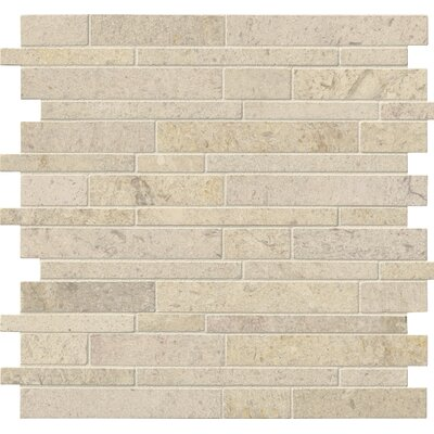 Interlocking Honed Limestone Mosaic Tile in Beige