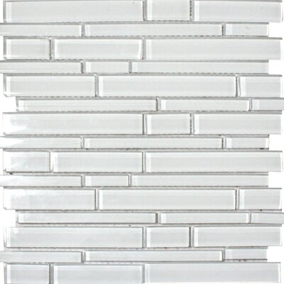 Ice Interlocking Glass Mosaic Tile in White