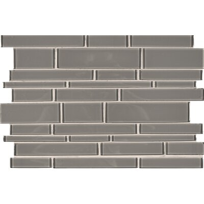 Pebble Interlocking Glass Mosaic Tile in Gray