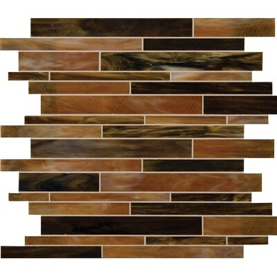Ambrosia Interlocking  Glass Mosaic Tile in Brown