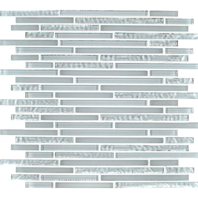 Ice Floe Blend Interlocking Glass Mosaic Tile in White