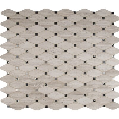 Bayview Elongated Octagon Glass/Stone/Metal Mosaic Tile in Gray