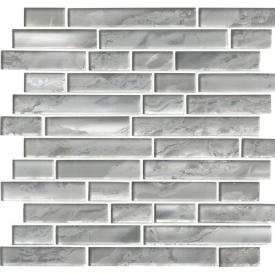 Canvas Interlocking Glass Mosaic Tile in White/Gray