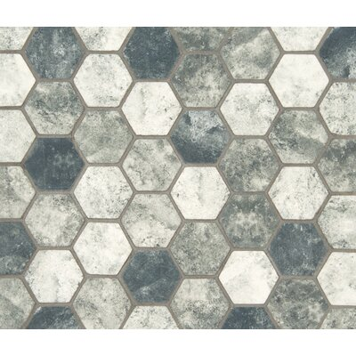 Urban Tapestry Hexagon 2 x 2 Glass Mosaic Tile in White/Gray
