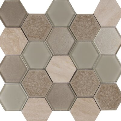 Monterra Blend Hexagon 3 x 3 Glass/Stone Mosaic Tile in Beige