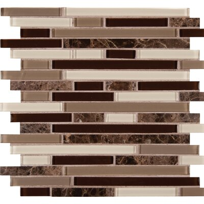 Royal Oaks Blend Interlocking Pattern Glass Mosaic Tile in Brown
