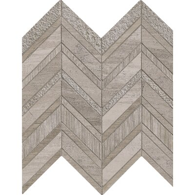 Chevron Marble Mosaic Tile in Gray