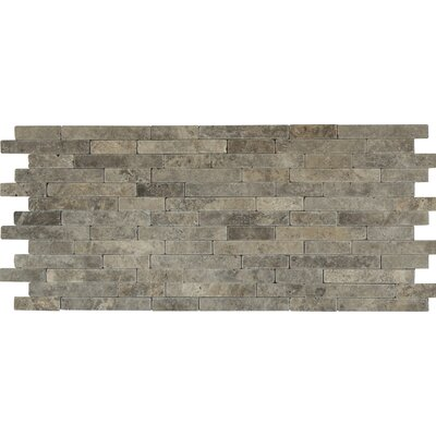 Tumbled Veneer Travertine Splitface Tile in Gray