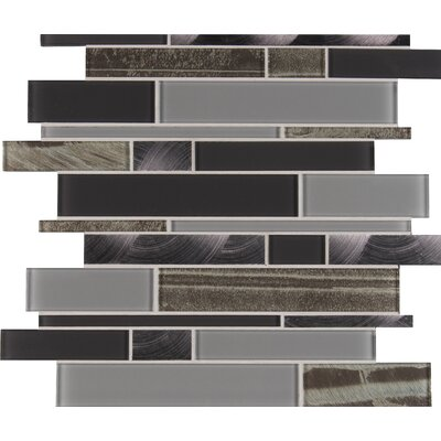Metallica Interlocking Glass Mosaic Tile in Gray