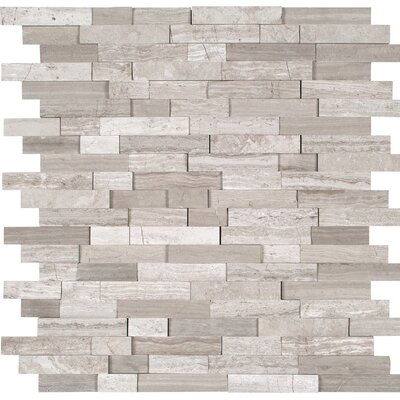 Split Face Marble Mosaic Tile in Gray
