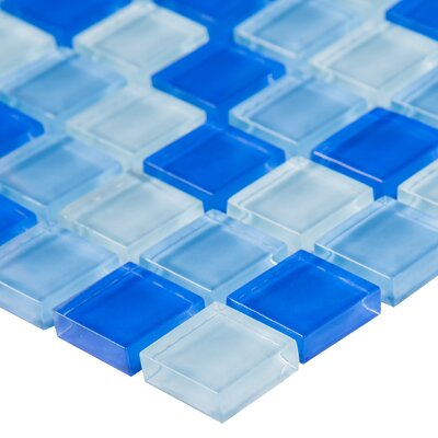 Crystallized 1 x 1 Glass Mosaic Tile in Blue