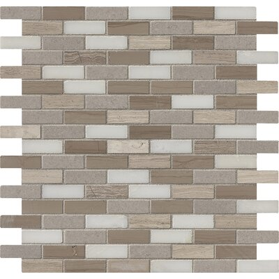 Arctic Storm Mounted 0.63 x 2 Marble Mosaic Tile in Brown