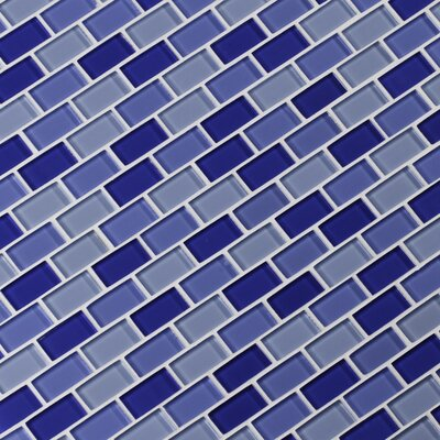 Crystallized 1 x 2 Glass Mosaic Tile in Navy Blue/Royal Blue/Steel Blue