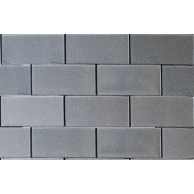 3 x 6 Glass Tile in Metallic Gray