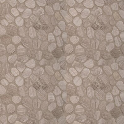 Oak Tumbled 12 x 12 Marble Pebble Mosaic Tile in Gray