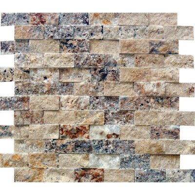Tuscany Scabas 1 x 2 Travertine Splitface Tile in Gold