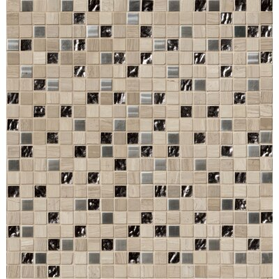 1 x 1 Glass/Stone/Metal Mosaic Tile in Gray
