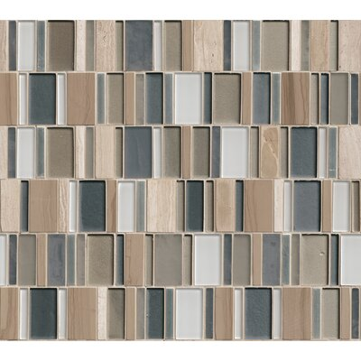 Random Sized Glass/Stone/Metal Mosaic Tile in Taupe