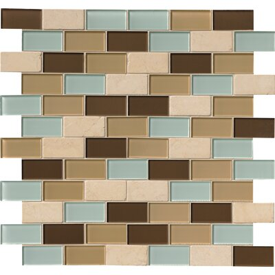 Desert Mirage 2 x 4 Glass and Stone Subway Tile in 4 Color Blend