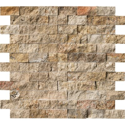 Tuscany Scabas 2 x 4 Travertine Splitface Tile in Gold