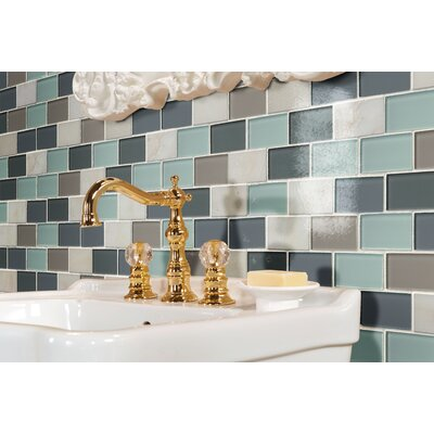 Majestic Ocean Brick 1 x 2 Glass Mosaic Tile in Gray