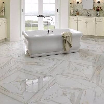 Pietra Calacatta 24 x 24 Porcelain Field Tile in White (Set of 3)