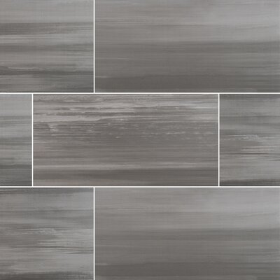 Watercolor Graphite 12 x 24 Porcelain Tile in Gray