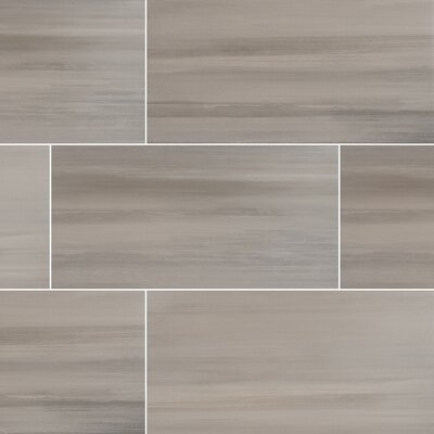 Watercolor Grigio 12 x 24 Porcelain Field Tile in Gray