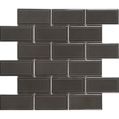 Charcoal Bevel 2 x 4 Ceramic Subway Tile  in Gray