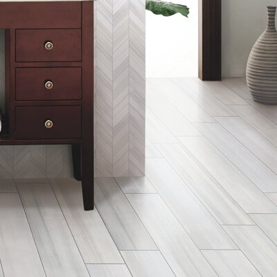 Watercolor Bianco 6 x 36 Porcelain Tile in White