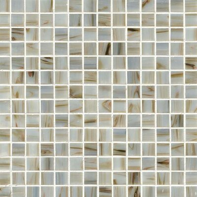 0.75 x 0.75 Glass Mosaic Tile in Ivory Iridescent