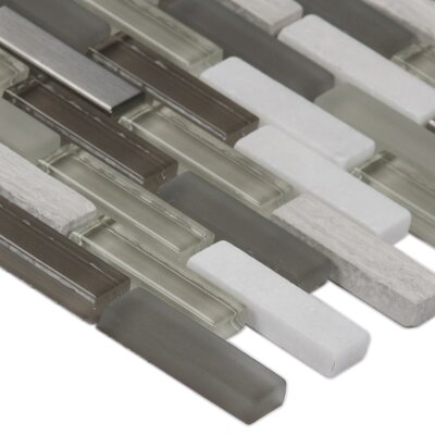 0.63 x 2 Glass/Stone/Metal Mosaic Tile