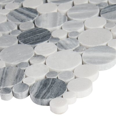 Alaska Pebble Polished Random Sized Marble Pebbles/Rocks Tile in Gray