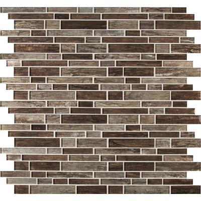 Antico Pewter Interlocking Random Sized Glass Mosaic Tile in Brown
