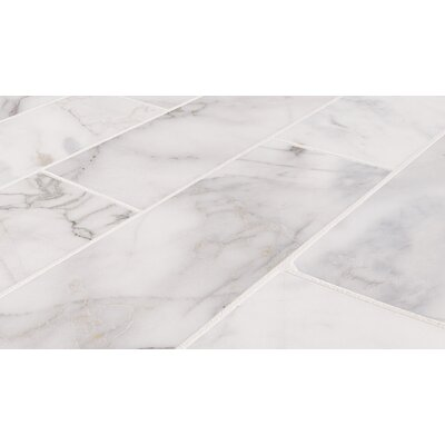 Calacatta Cressa Honed 4 x 12 Marble Subway Tile in White