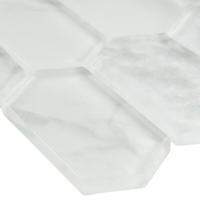 Calypso Picket Pattern Glass Mosaic Tile in White