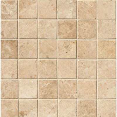 Crema Cappuccino Polished 2 x 2 Marble Mosaic Tile in Beige