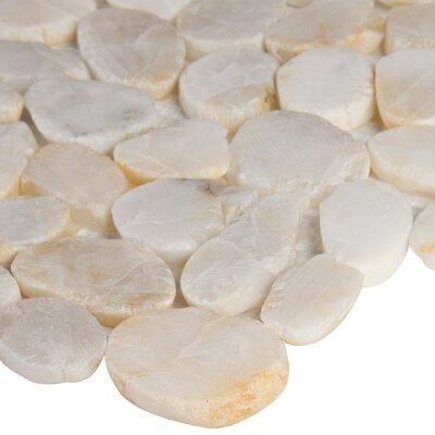 Dorado Pebble Tumbled Random Sized Marble Pebbles/Rocks Tile in White
