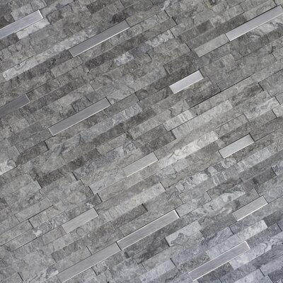 Eclipse Interlocking Pattern Random Sized Stone/Metal Splitface Tile in Gray